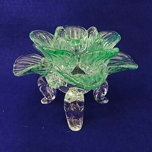 Candle Holder Tealight Green Glass Flower Shaped Footed
