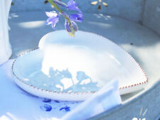 VINTAGE ANTIQUE WHITE HEART CANAPE DISH BOWL PLATE FRENCH POT WEDDING BIRTHDAY