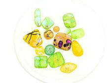 Vintage Lime Yellow Dichoric Glass Fuse Foil Glass Mix Cabochon Jewel Stones Lot