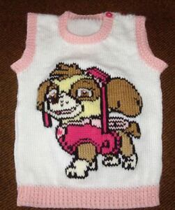 PAW PATROL... SKYE  ...SIZE 4 ...VEST NEW HAND KNITTED MADE TO ORDER