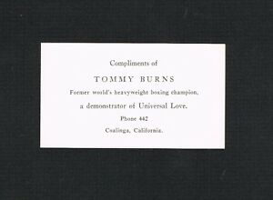VERY RARE WORLD CHAMPION TOMMY BURNS boxing boxer business card Jack Johnson