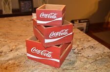 Set of 3 Coca Cola Wooden Stacking/Nesting Crates Boxes Painted Decorative EUC