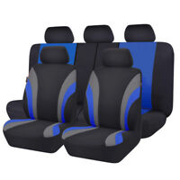 Universal 11PCS Black Blue Car Seat Covers for TRUCK SUV Polyester Bench Split