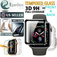 9H Glass Screen Protector+Soft Case For Apple Watch Series SE/6/5/4/3/2 44 42mm