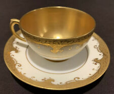 Antique Coalport England Gold Encrusted Cup and Saucer Solid Interior READ AS IS