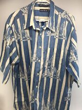 XL Nautica Sailboat Stripes Blue Mens Shirt 1/2 Sleeve RARE 90's Style VINTAGE