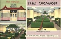 Washington DC Dragon Chinese Restaurant COLORFUL LINEN Postcard