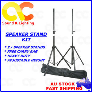 Air Pressure Robust Steel Speaker Stands Kit With Heavy Duty Carry Bag - Black