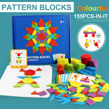 155 Pieces Wooden Pattern Blocks Montessori Education Puzzle Classic Development