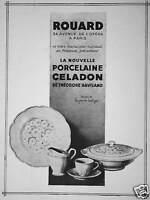 PUBLICITÉ ROUARD LA NOUVELLE PORCELAINE CELADON DE THÉODORE HAVILAND