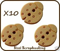LOT 10 BOUTONS EN BOIS COCCINELLES SCRAPBOOKING COUTURE NEW DIY 15MM SISSI SCRAP