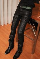 Mens Stylish Fashion Front Leather Designer Slim Fit Jeans Trousers Pants