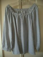 Old Navy Chambray Lt Blue White Stripe Off the Shoulder Peasant Shirt 2X L XXL