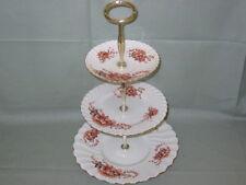 VINTAGE Cina 3-Tier cake stand Vittoriano Dorati & TERACOTTA Motivo Floreale