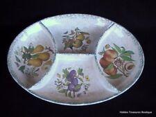 Himark Large Divided Serving Platter Fruit/Floral Cream Green Sponged Trim Italy