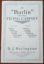BURLIN Vertical Filing Cabinet 1909 Catalog  Burlingame Office Equipment Chicag0
