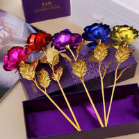 24K Gold Plated Rose Flower Luxury Valentine's Day Girlfriend Romantic Love Gift