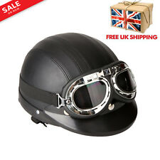 Half Leather Helmet Open Face Motorcycle Motorbike Scooter Bike Rider Retro UK