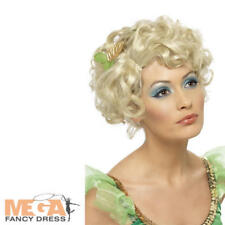 Fairy Tinkerbell Wig Ladies Fancy Dress Womens Fairytale Costume Blonde Wavy Wig
