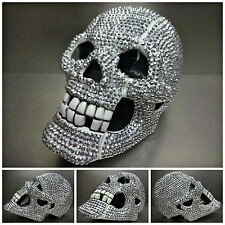 UNIQUE Rare BLING SKULL TELE PHONE DECORATION SCULPTURE HANDMADE Silver Stones