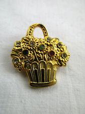 1 Anstecknadel Brosche Blumenkörbchen goldfarben