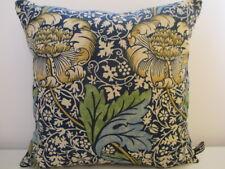 Sanderson William Morris Kennet Linen & Navy Blue Velvet Cushion Cover Gold