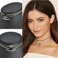 3pcs/Set Women Charm Jewelry Choker Chunky Statement Bib Pendant Chain Necklace