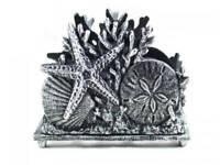 "Antique Silver Cast Iron Seashell Napkin Holder 7"" - Seashell Decoration - Beach"