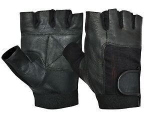 LEATHER GLOVES WEIGHT LIFTING WHEELCHAIR CYCLING HALF FINGER FITNESS TRAINING