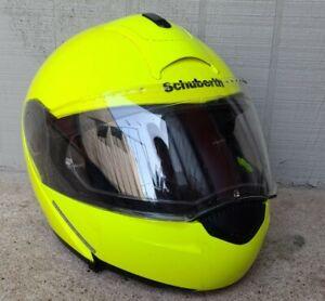 Schuberth C3 Motorcycle Helmet (L 59) Bright Safety Yellow flip up visor