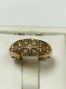 Antique 15 Carat Gold Traditionally Set SEED PEARL Ring B/Ham 1883