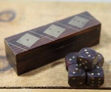 Set of 5 wood and brass dice in inlaid case made in India Handmade