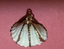 A. PENDANT,  SEASHELL GOLD TRIM. 20x23mm. WEAR ON NECK CHAIN OR AS A CHARM