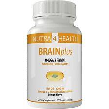 Brain Plus IQ - Fish Oil Omega 3 Capsules - Liquid Pills with High EPA DHA...