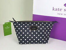 NWT KATE SPADE NEW YORK JODI BLACK AVENUE DIAMOND DOT MAKEUP COSMETIC BAG POUCH