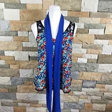 Belle Du Jour Womens Sz S Floral  Tank Top Lace Details Detachable Scarf Blue