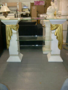 gold ribbon and off white tv unit/ hall table with shelves