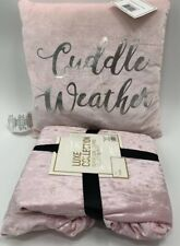 Luxe Collection Pink Velvet Throw Blanket And Pillow New GIFT