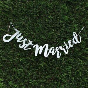 Silver Glitter Just Married Banner x 100cm - Wedding Venue Decoration
