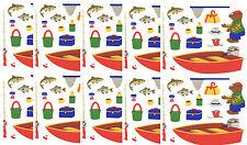 Mrs Grossman's FISHING Fun Fish Bear in a Boat Net Scrapbook Stickers 5 Sheets!
