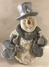 """Snowman Figure Blue & Silver Christmas Holiday Decor Frosty Statue 12"""""""