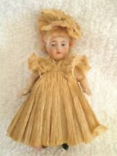 """4"""" Antique French Doll all bisque in darling original outfit marked 198 10"""