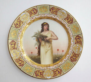 Hand Painted Royal Vienna Cabinet Plate FLORA Artist Signed Wagner Beehive Mark