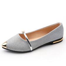 Lady Women Pointed Low Heels Moccasin Flat Slip On Shoes Ballet Boat Sandal Size