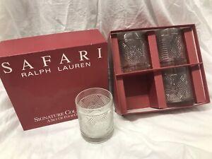 RALPH LAUREN Safari Signature Collection Set - 4 GLASSES & Box COCKTAIL TUMBLERS