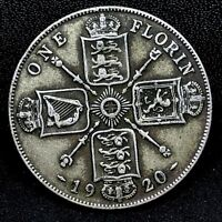 Great Britain -1920~  Florin ( 2 Shillings)  - KM# 817A - 0.500 Silver Coin.