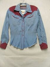 Nathen Turk, Smith & Chandler Blue Yellowstone Western 40's Wool Shirt M v6777