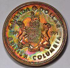 1971 BC Canadian Silver Dollar BU Rainbow Tone-COLOR Tone #3