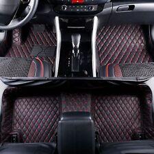 2013-2019 Lexus GS350 Leather Custom Fit Floor Mats Black w/ Red Stitches