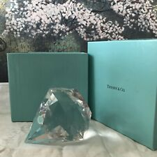 Tiffany & Co Crystal Diamond Shaped Paperweight Signed New in Box Orig. Sticker